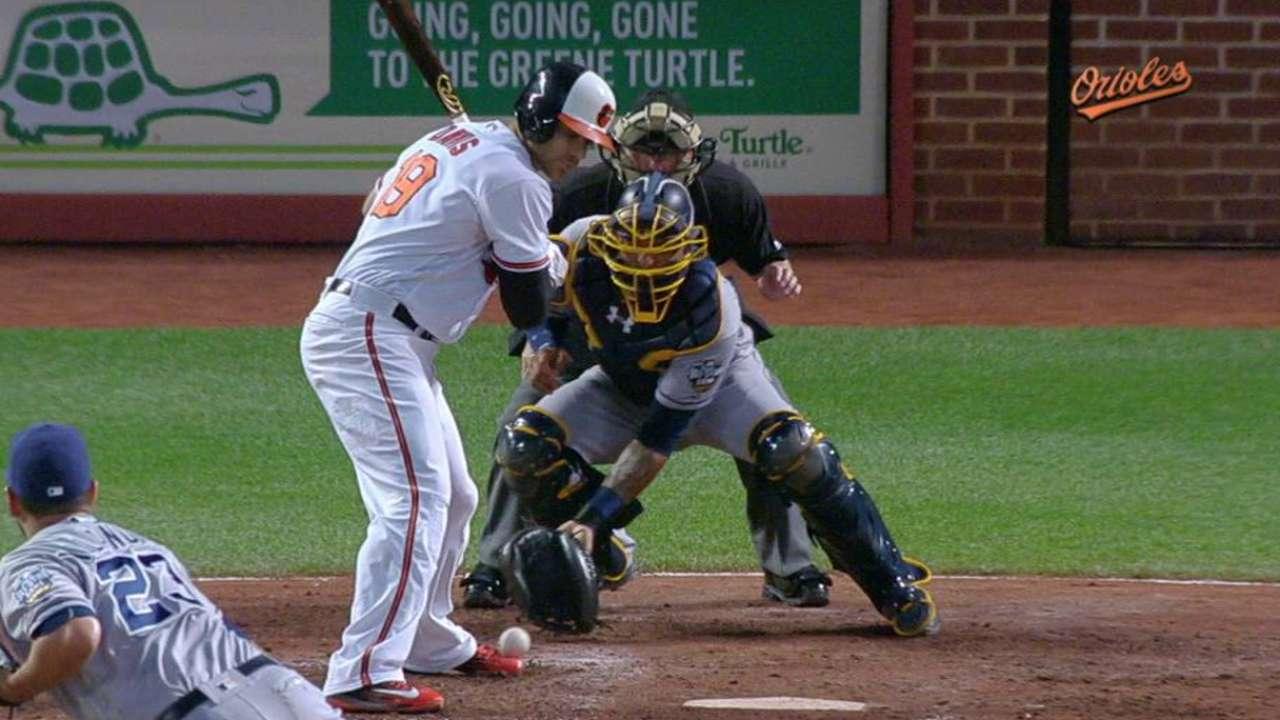Davis hit by a pitch, run scores
