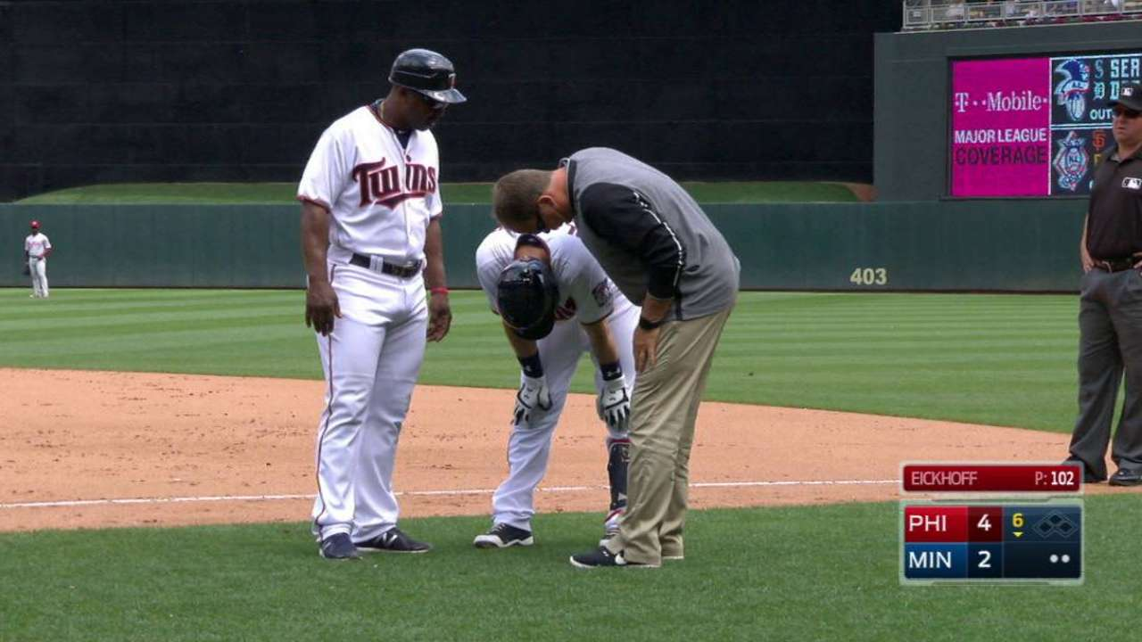 Plouffe exits game with injury