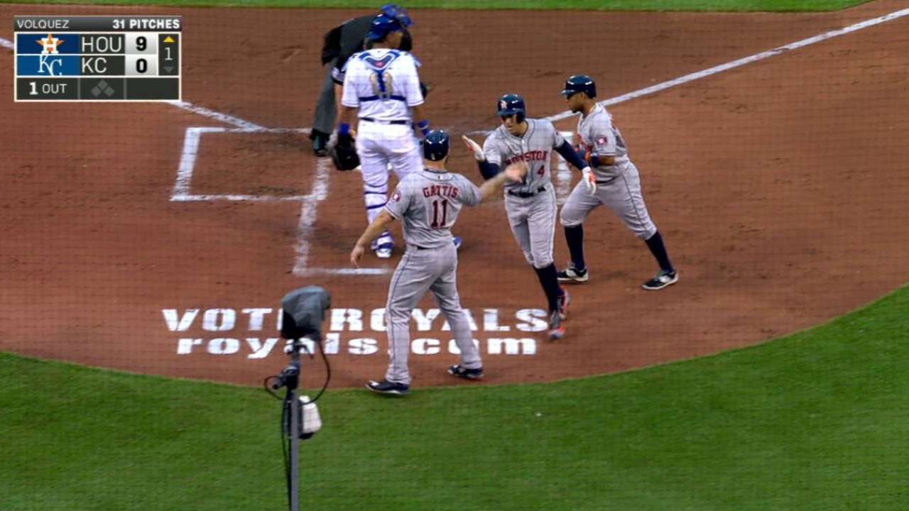 Astros ride 9-run 1st inning in rout of Royals