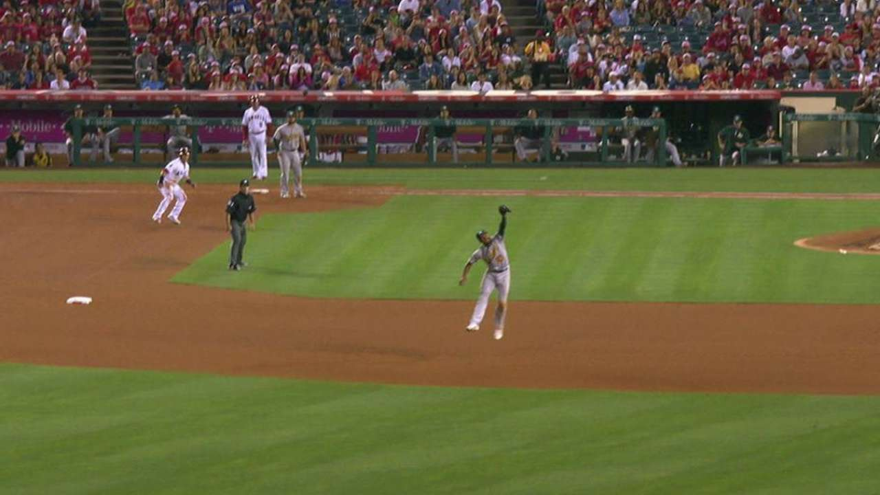 Semien's leaping snag