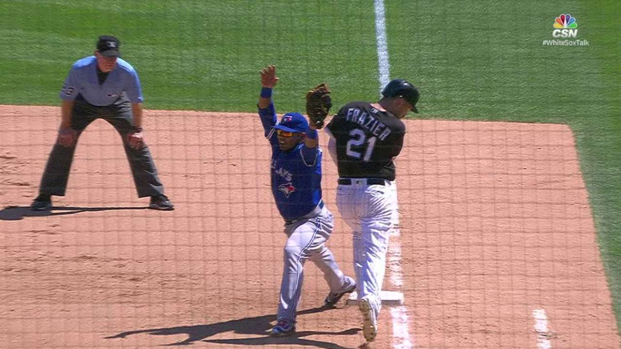 Frazier singles on review