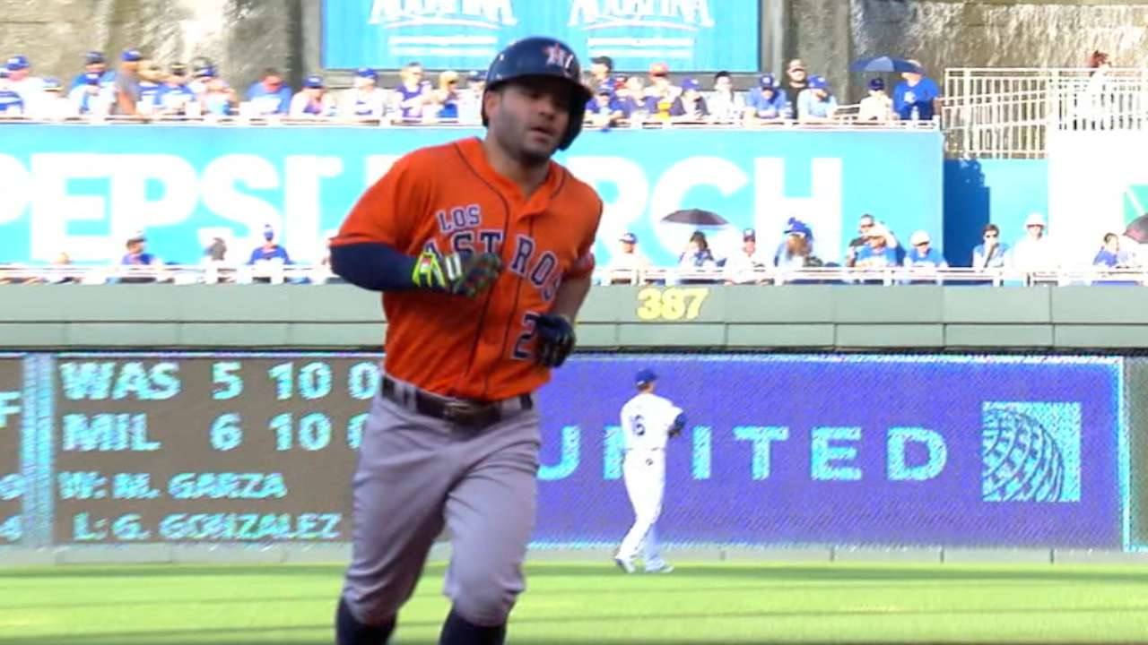 Altuve 'falls' just shy of cycle