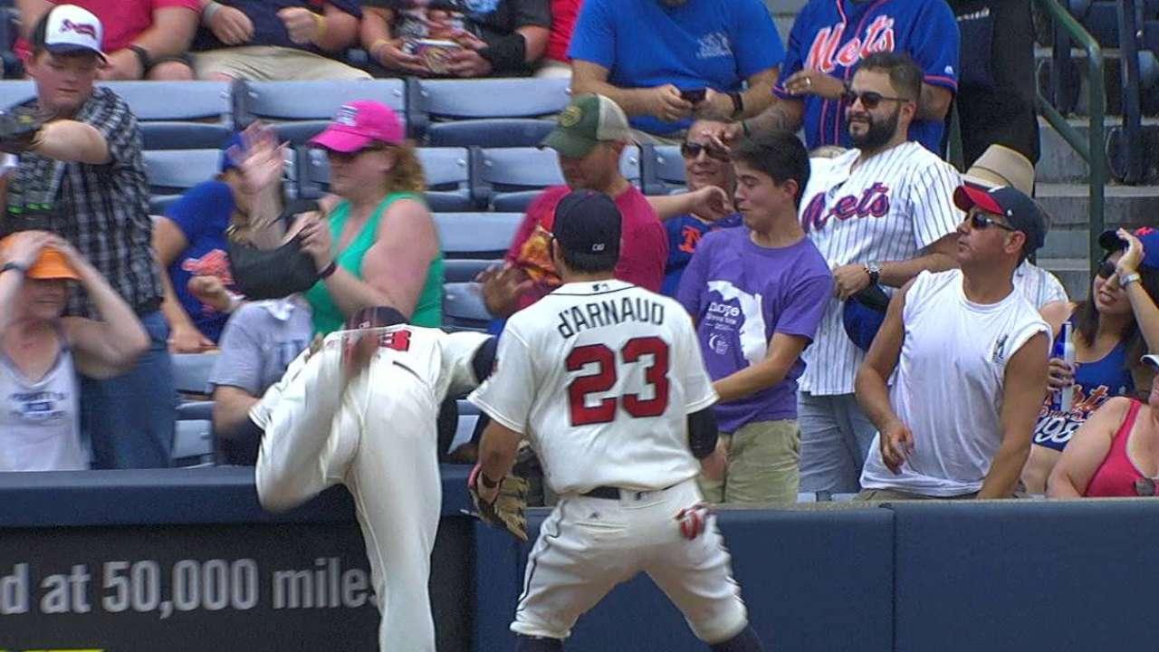 Garcia's nice catch on foul ball