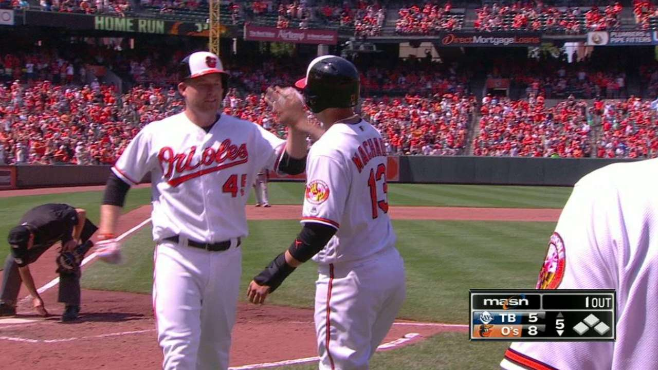 Trumbo hits homer to left field