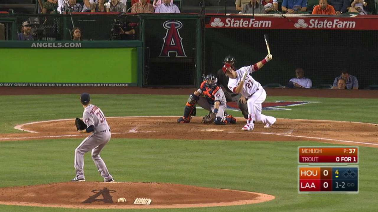 Trout's solo homer opens scoring