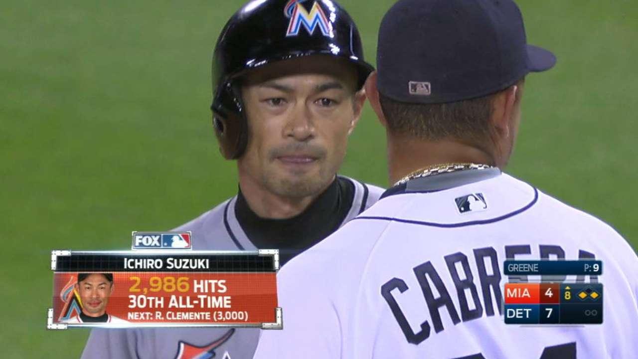 Ichiro ties, passes Rice, now 14 hits from 3,000