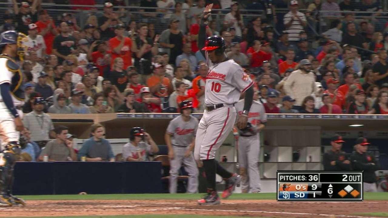 Machado, tres jonrones catapultaron a Orioles en San Diego