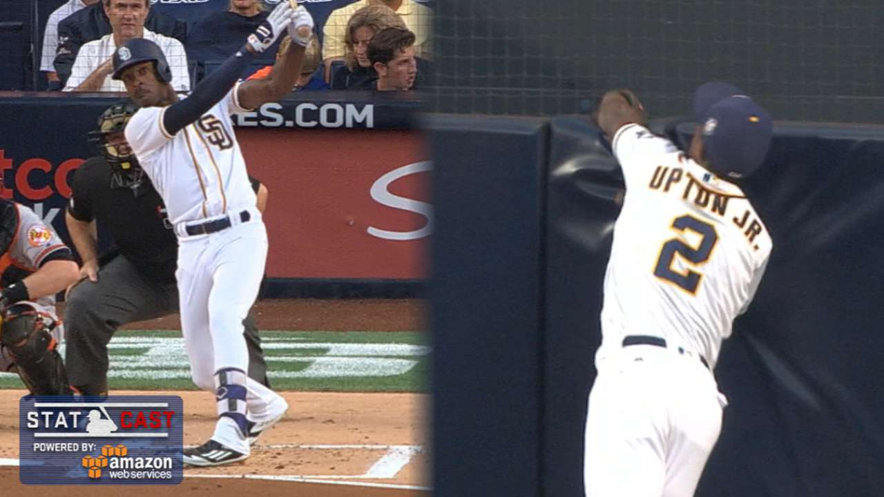 Upton Jr. robs homer, turns DP with unreal play