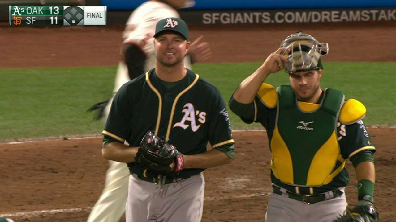 Bumpy last innings in SF finally tip to A's