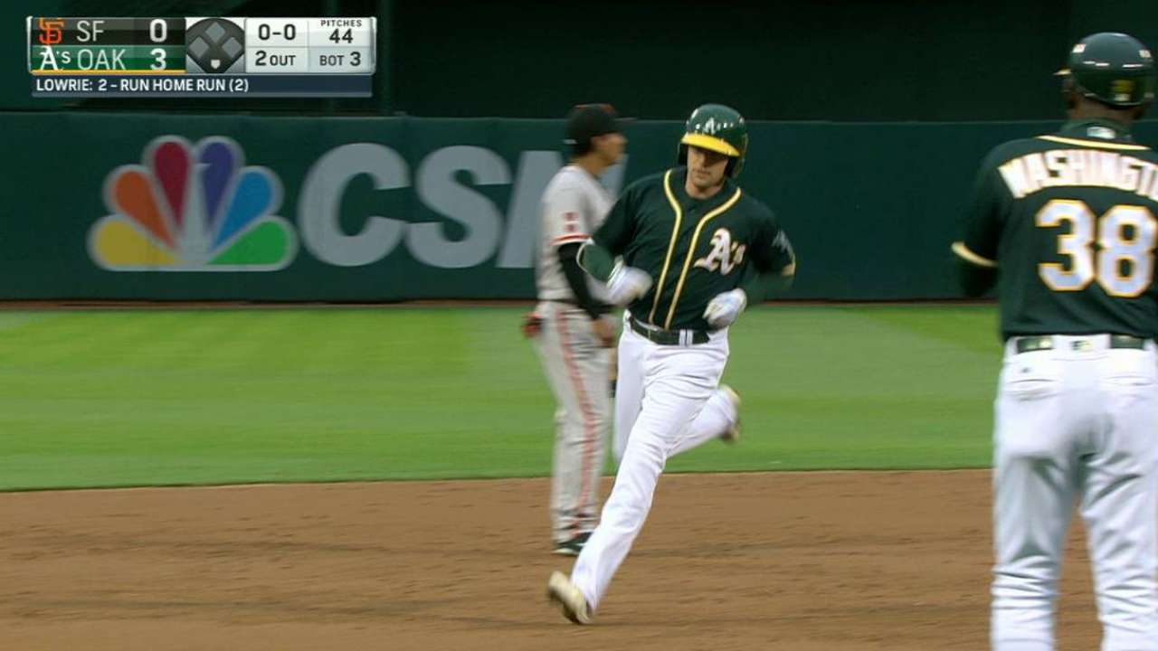 Homer-happy A's cruise past Giants