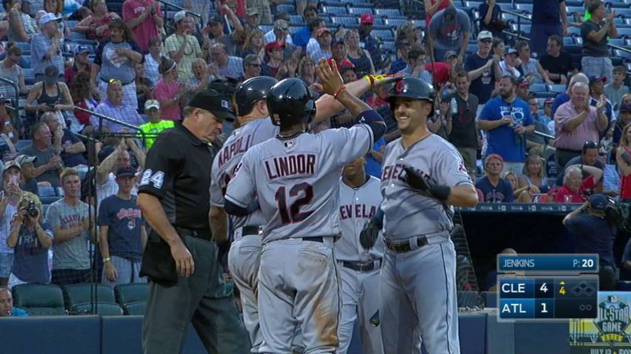 Bauer, Chisenhall spark Tribe to 10th straight
