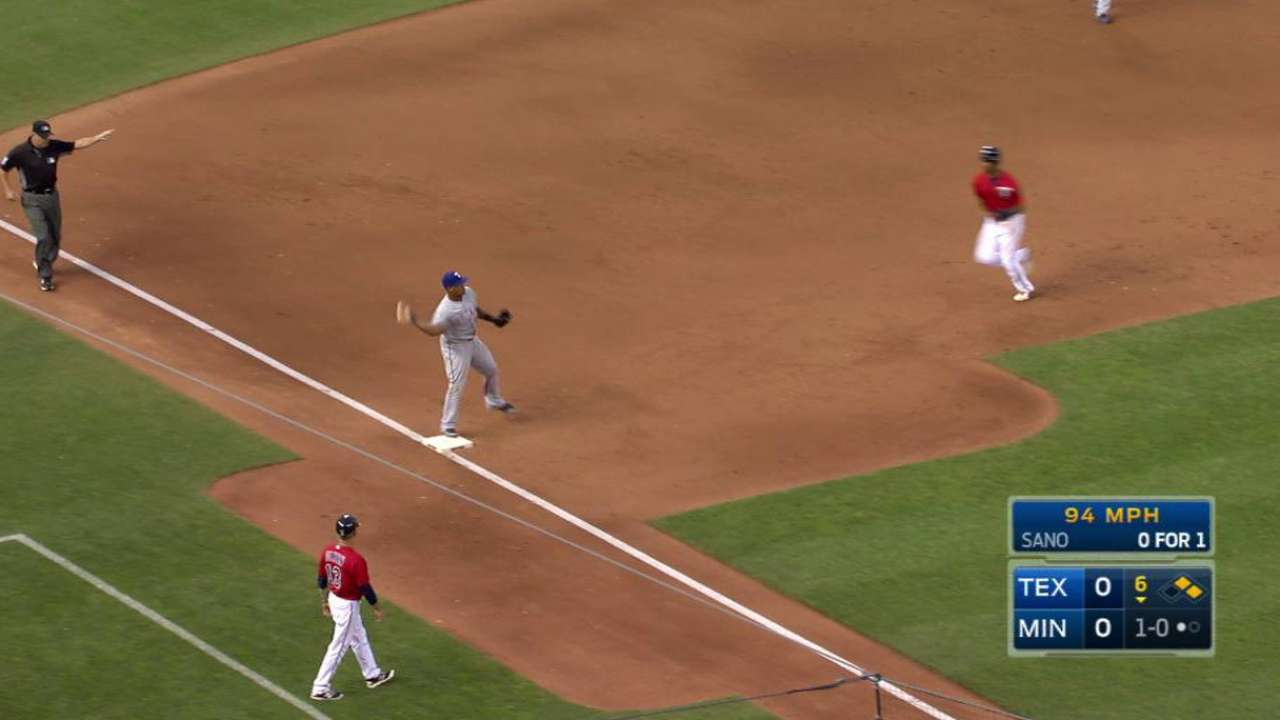 Beltre starts double play