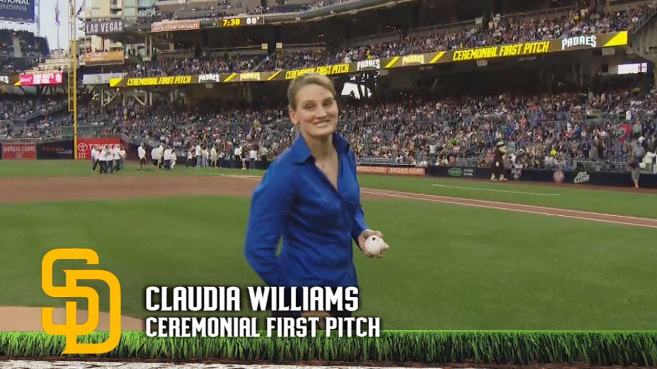 Claudia Williams' first pitch