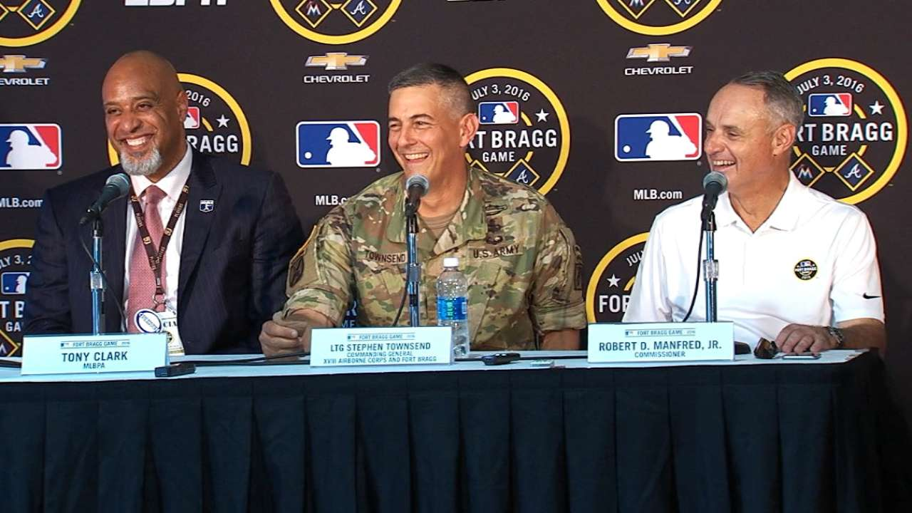 Manfred honored to bring baseball to Fort Bragg