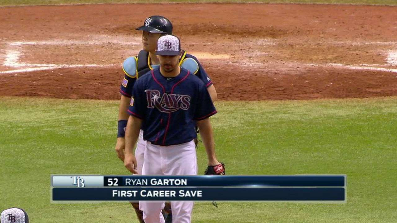 Garton boosts Rays' 'pen with first career save