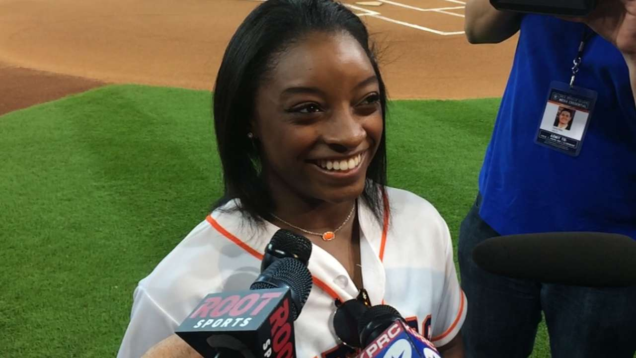 Biles on throwing first pitch