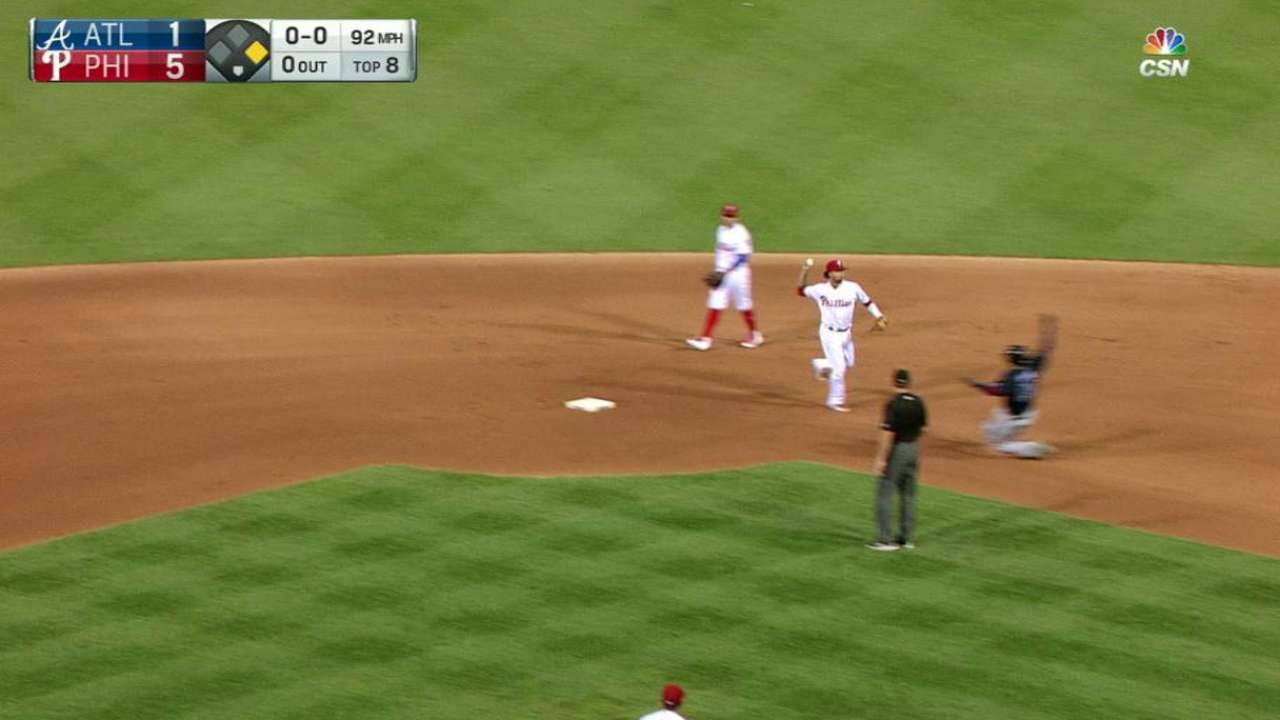 Phillies turn a double play