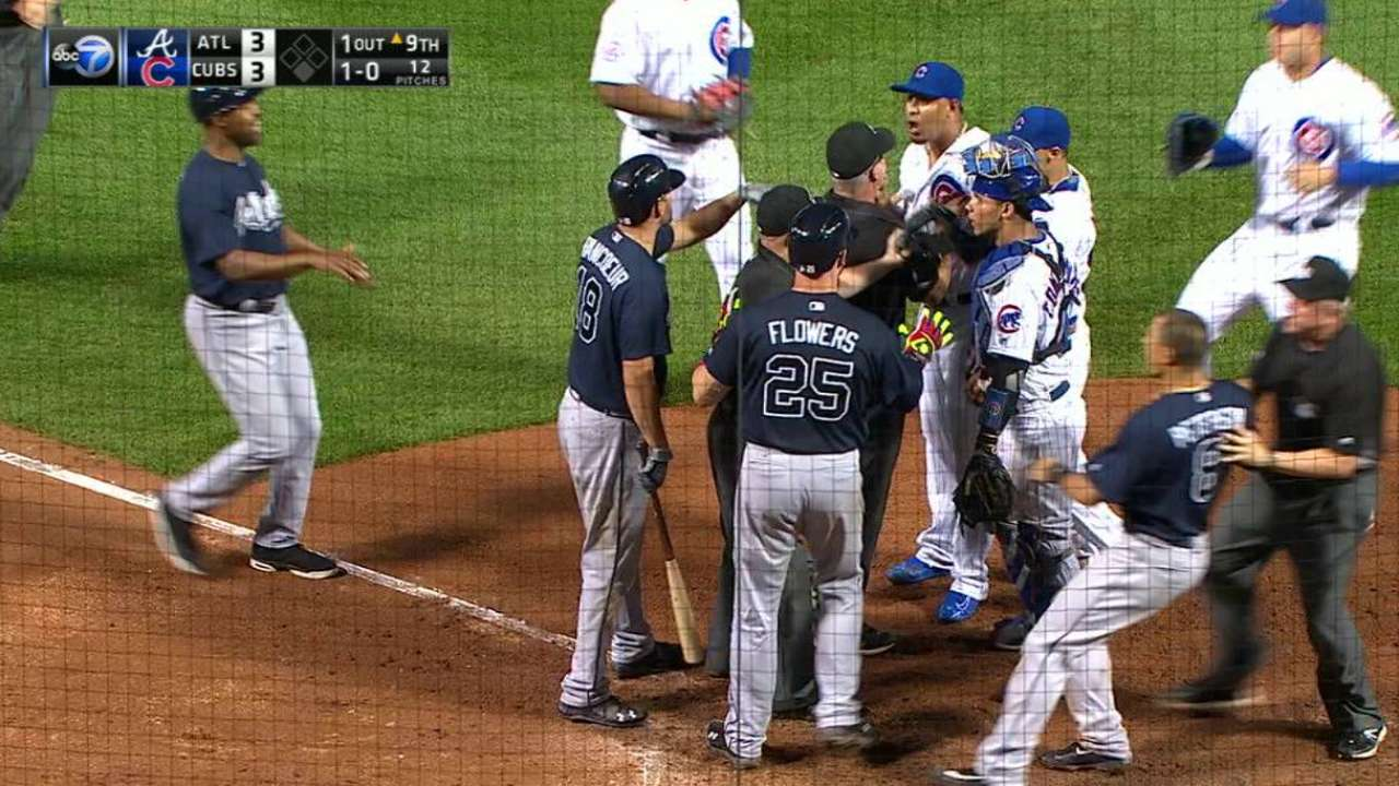 Tempers flare in the 9th inning