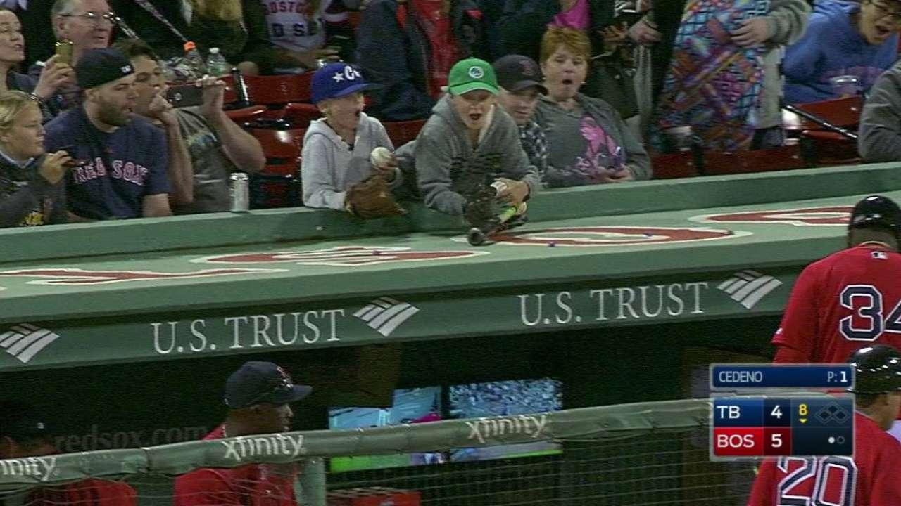 Ortiz gives bat to fan