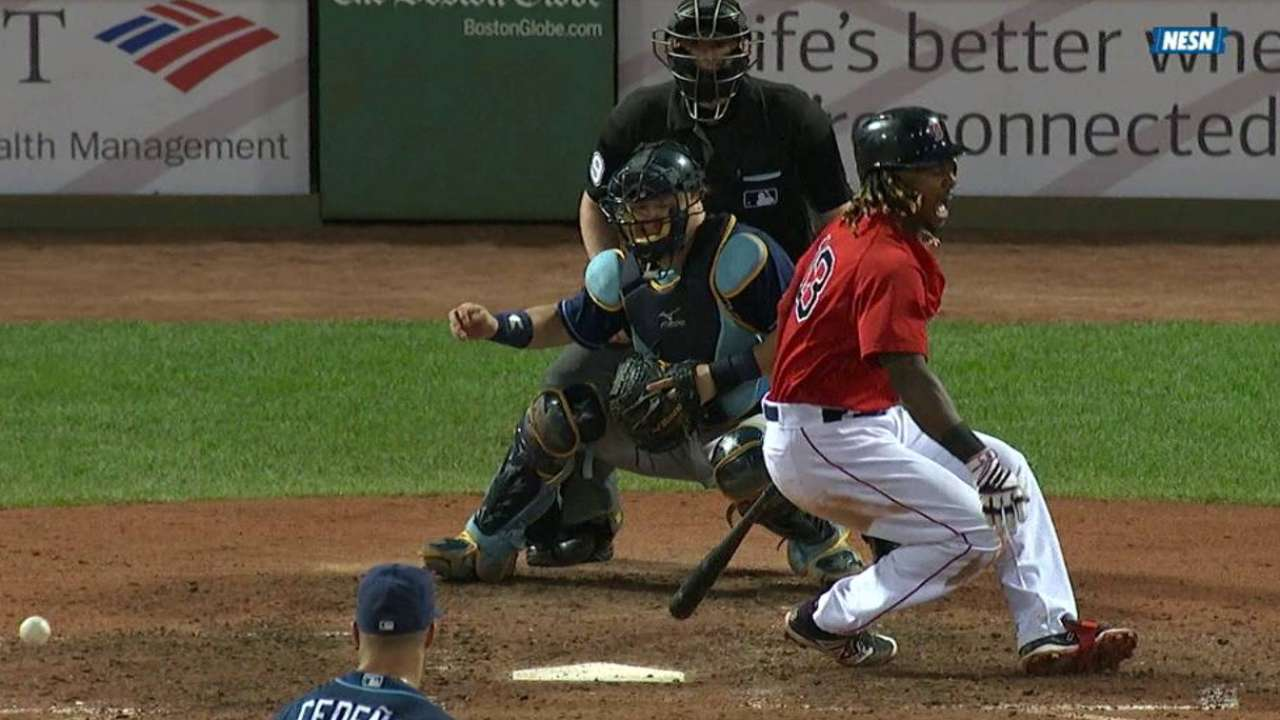 Ramirez fouls ball off his shin