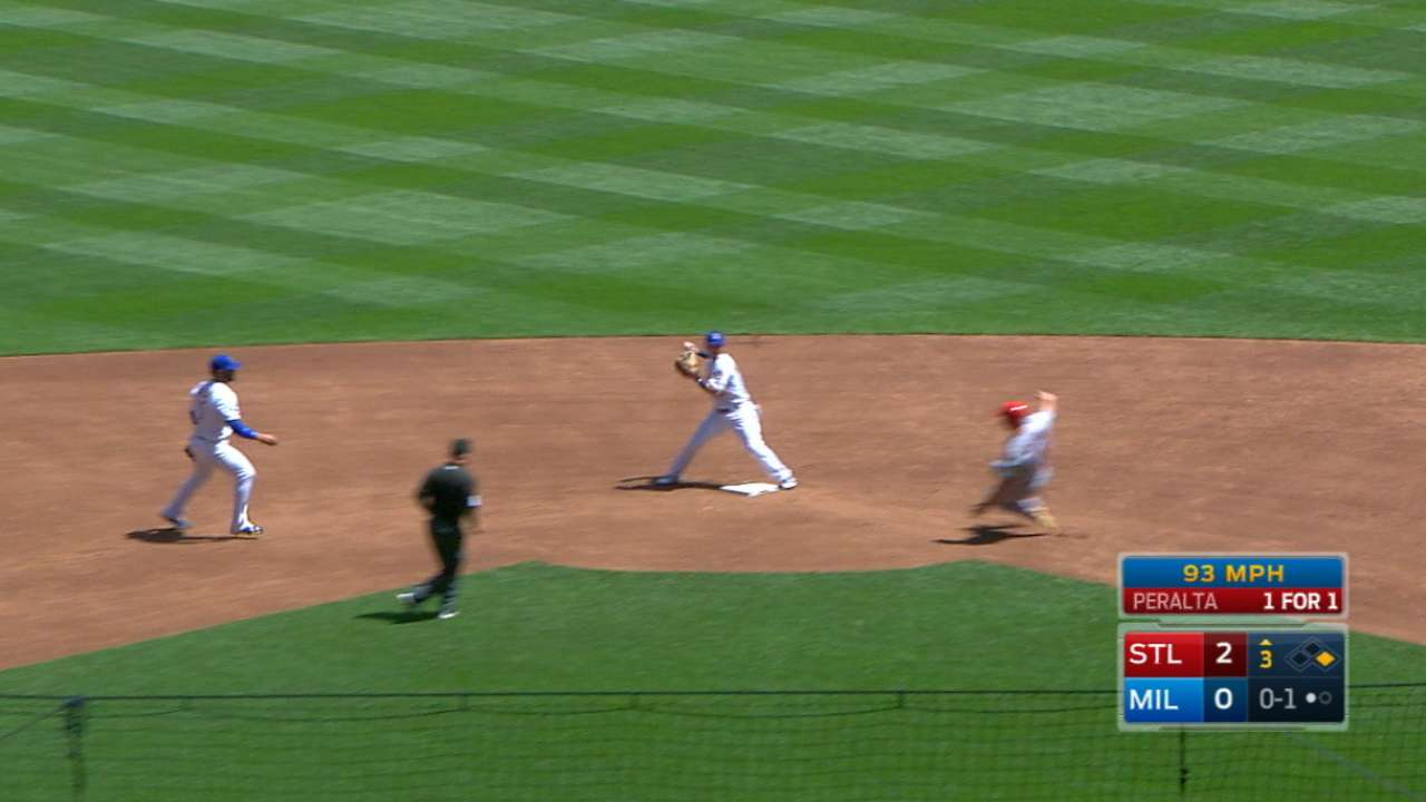 Grichuk safe at second