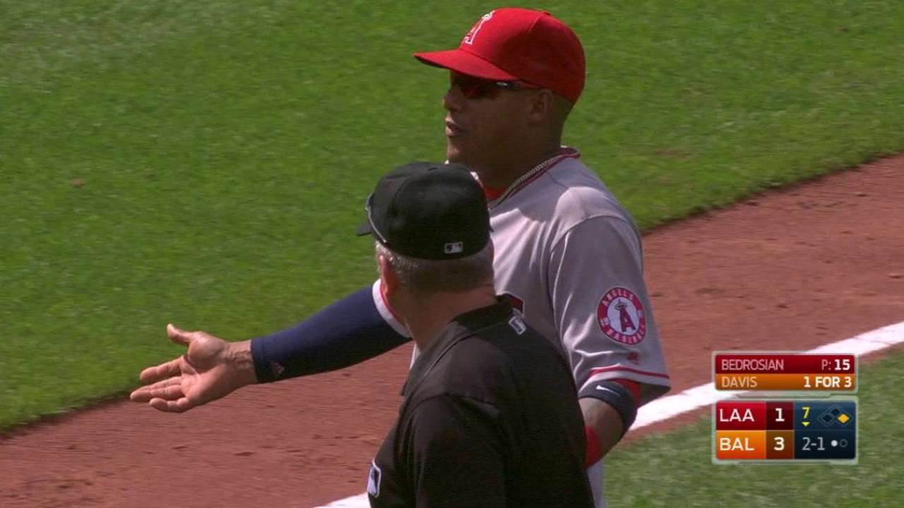 Yunel ejected for questioning O's check swing
