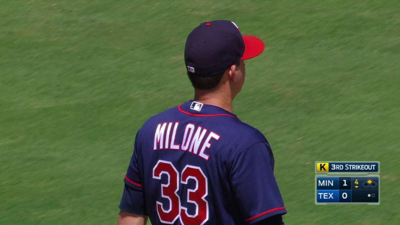 Twins place Milone on DL, recall Dean
