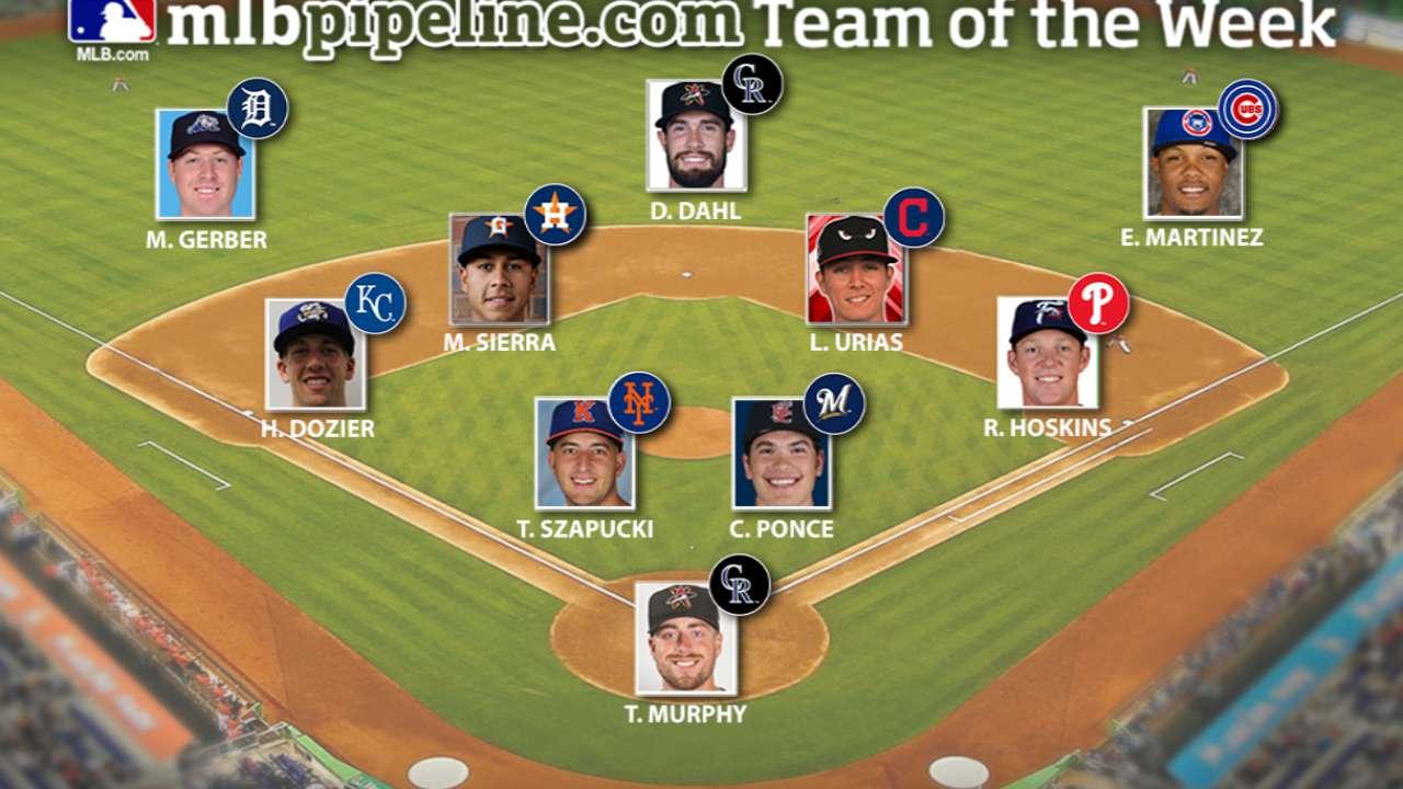 Rockies' Dahl, Royals' Dozier lead Prospect Team of the Week