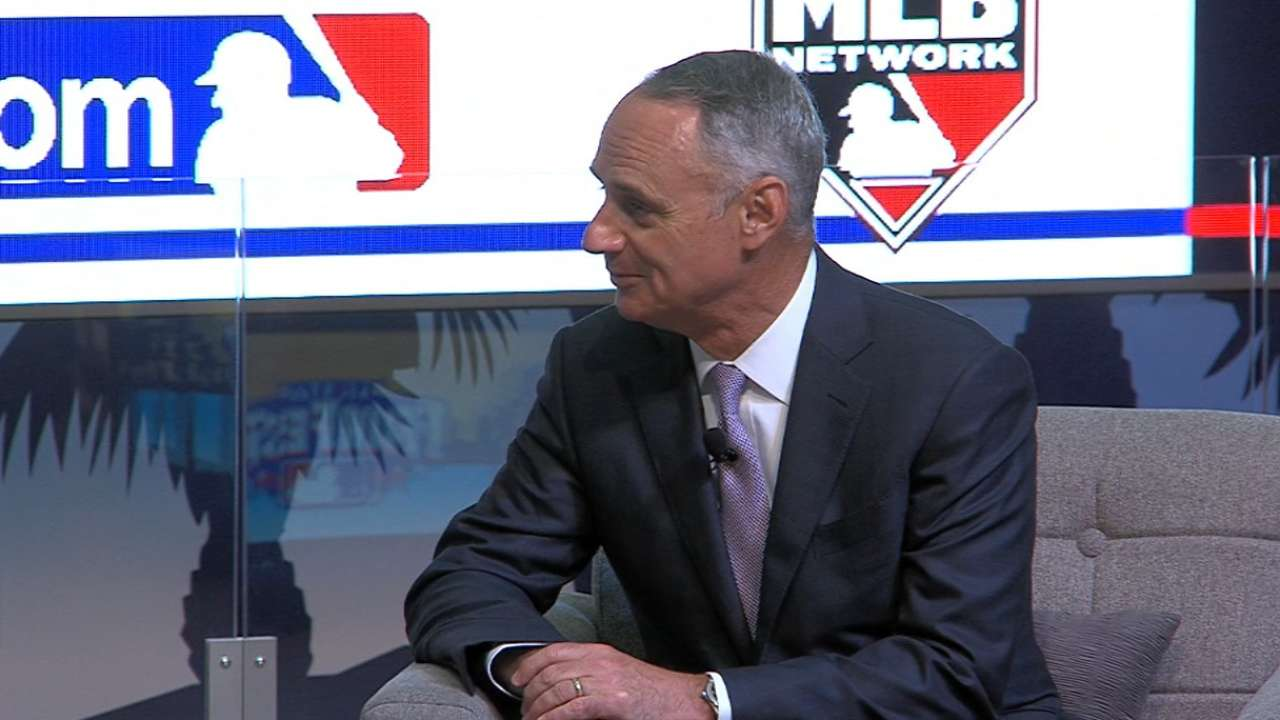 Manfred, union chief Clark tackle CBA issues