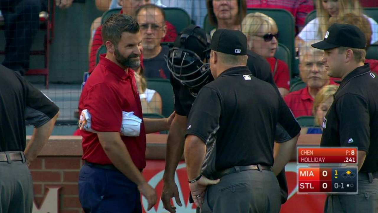 Umpire injured on foul ball