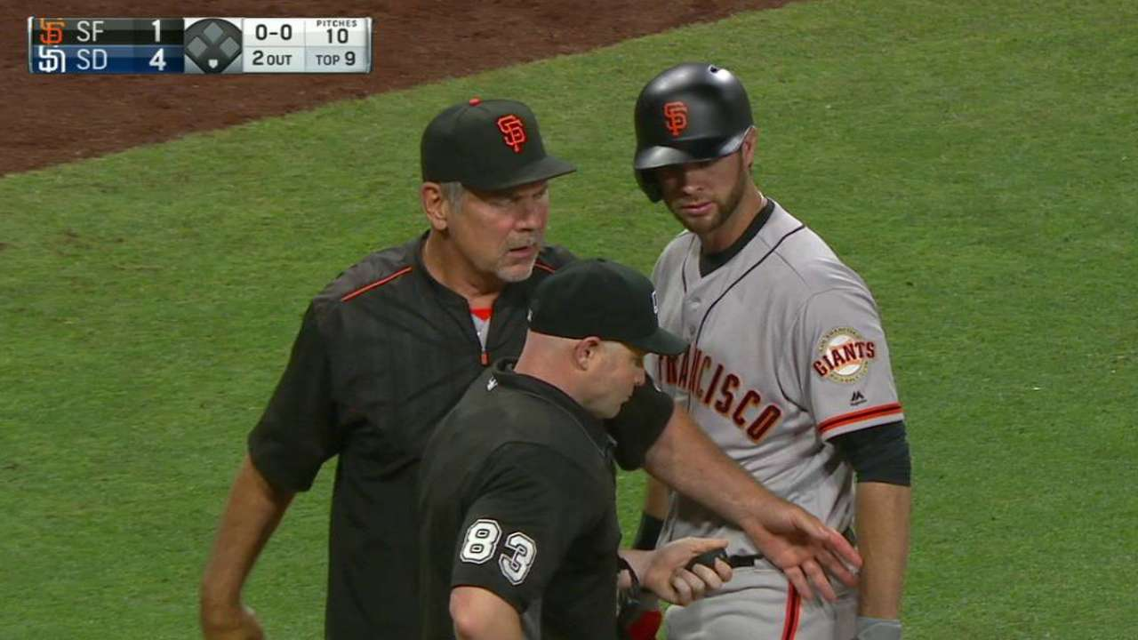 Belt, Bochy ejected from game