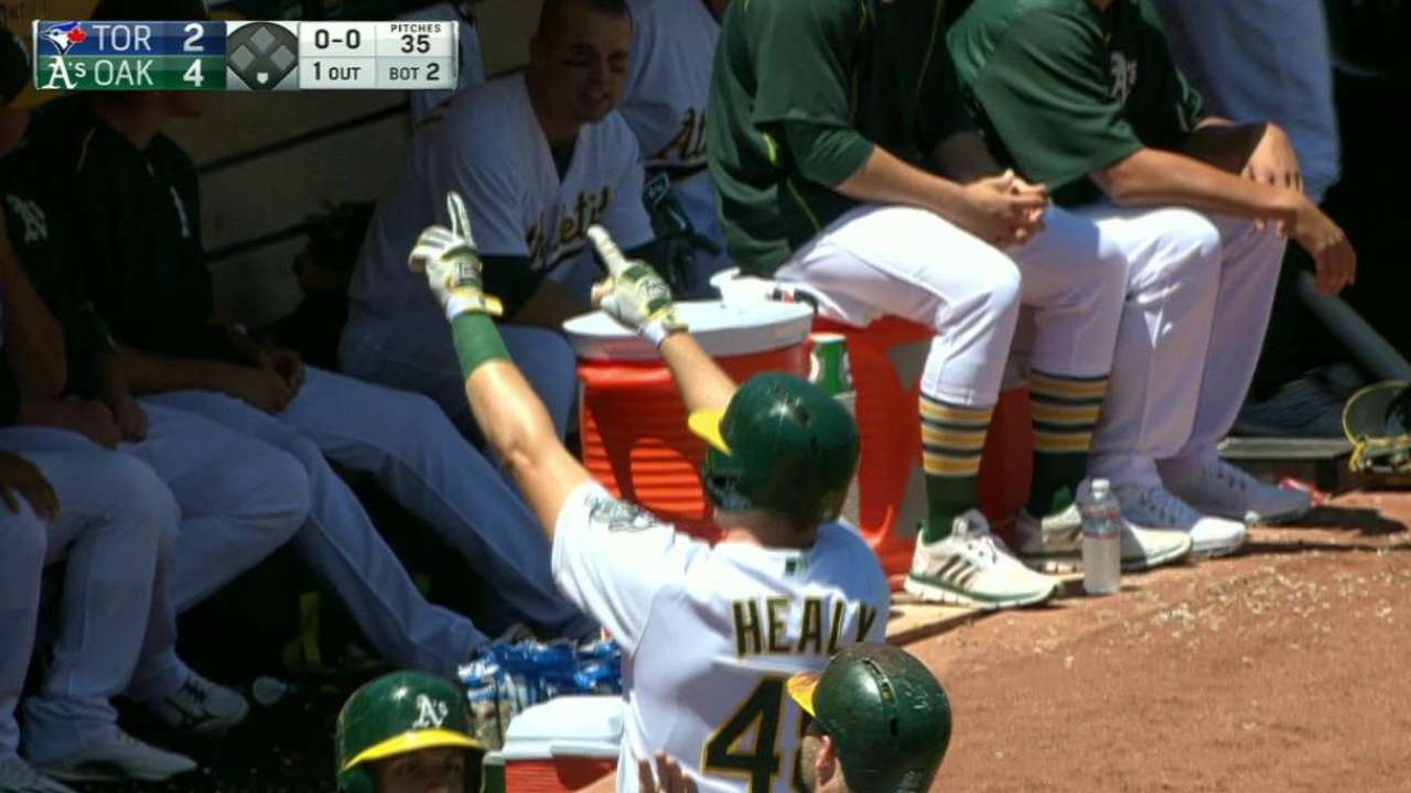 Healy homers for first hit