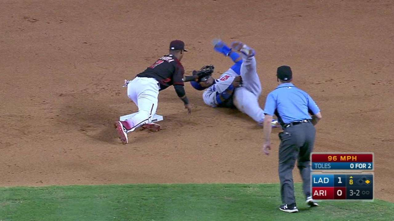 Castillo nabs Puig at second
