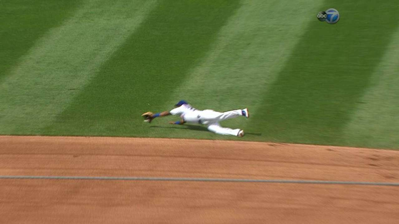 Russell's diving stop in the 6th