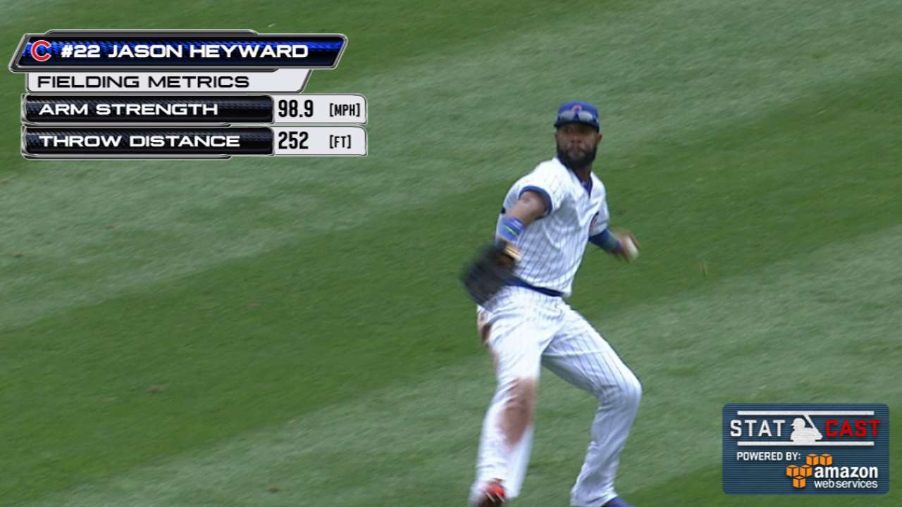 Heyward hits 99 mph in perfect throw to plate