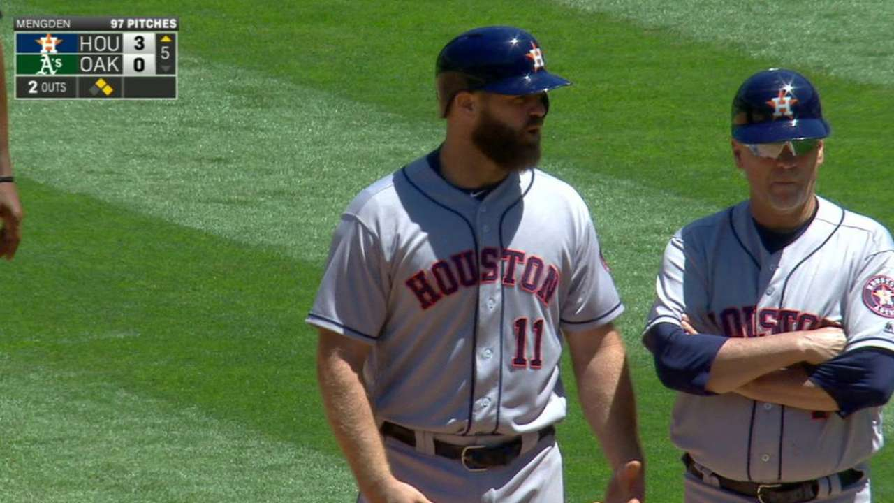 Gattis gets plunked in the 5th