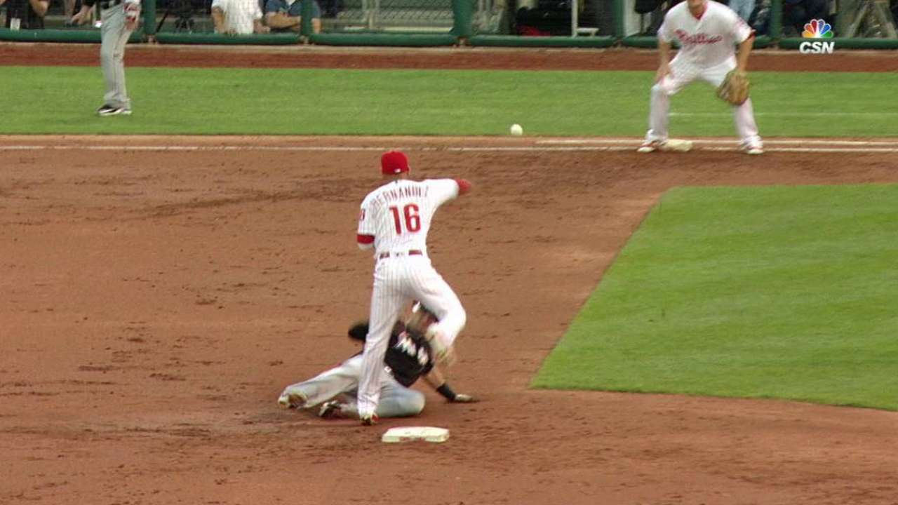Franco begins a nice double play