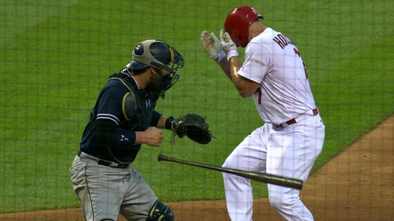 Holliday's nose bloodied but not broken by pitch