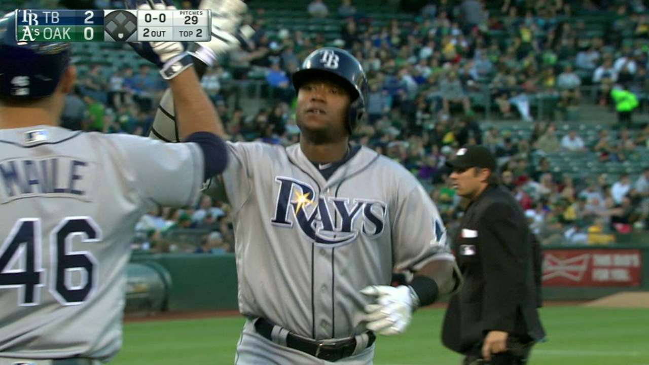 Rays rock A's Gray, roll to 3rd straight win