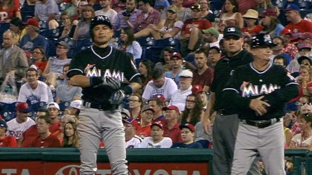 Marlins not rushing Ichiro's quest for 3,000 hits
