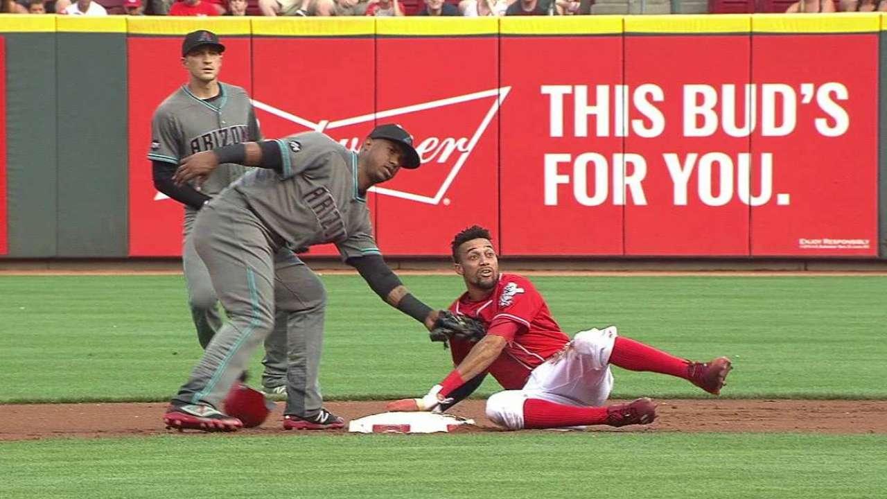Hamilton steals second base