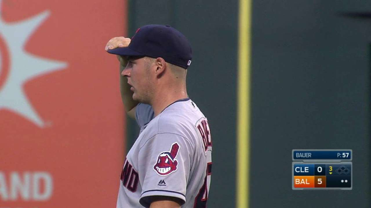 Bauer strikes out Trumbo