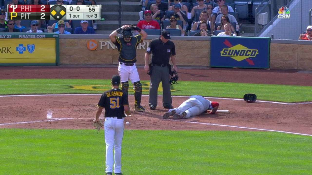 Rupp hit in head by pitch, but dodges serious injury