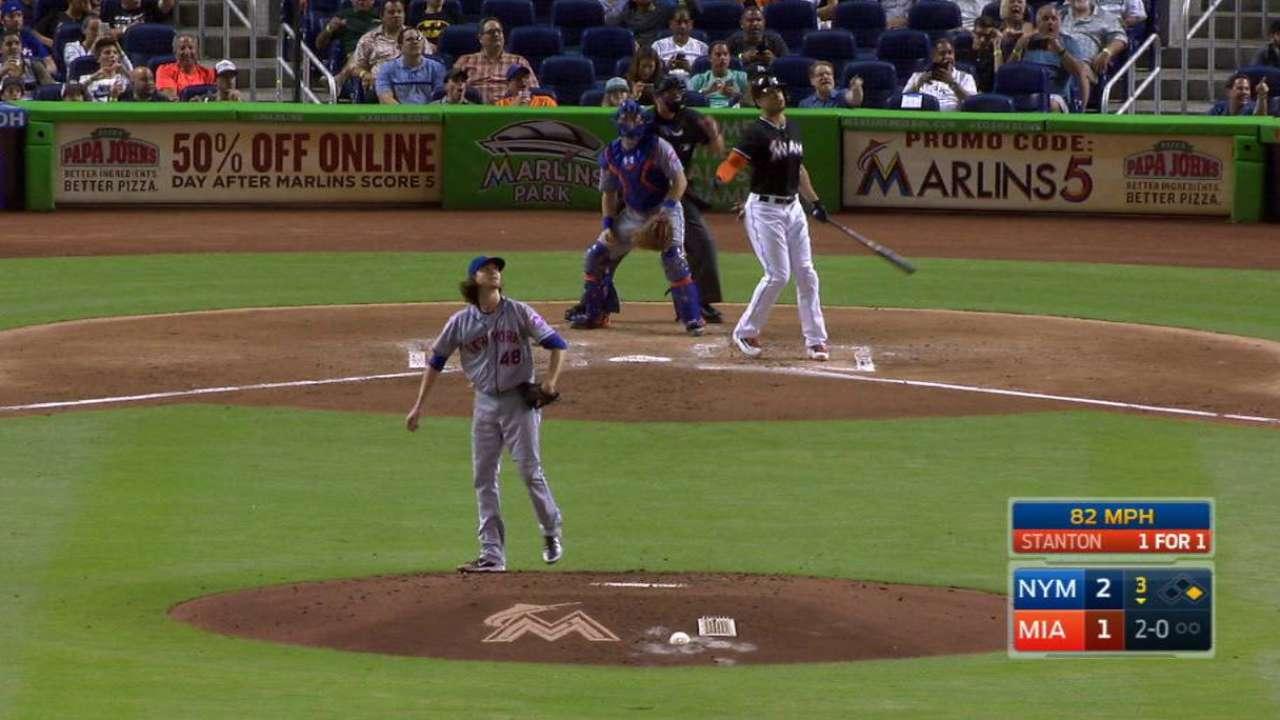 Stanton y Fernández le arruinaron la noche a los Mets