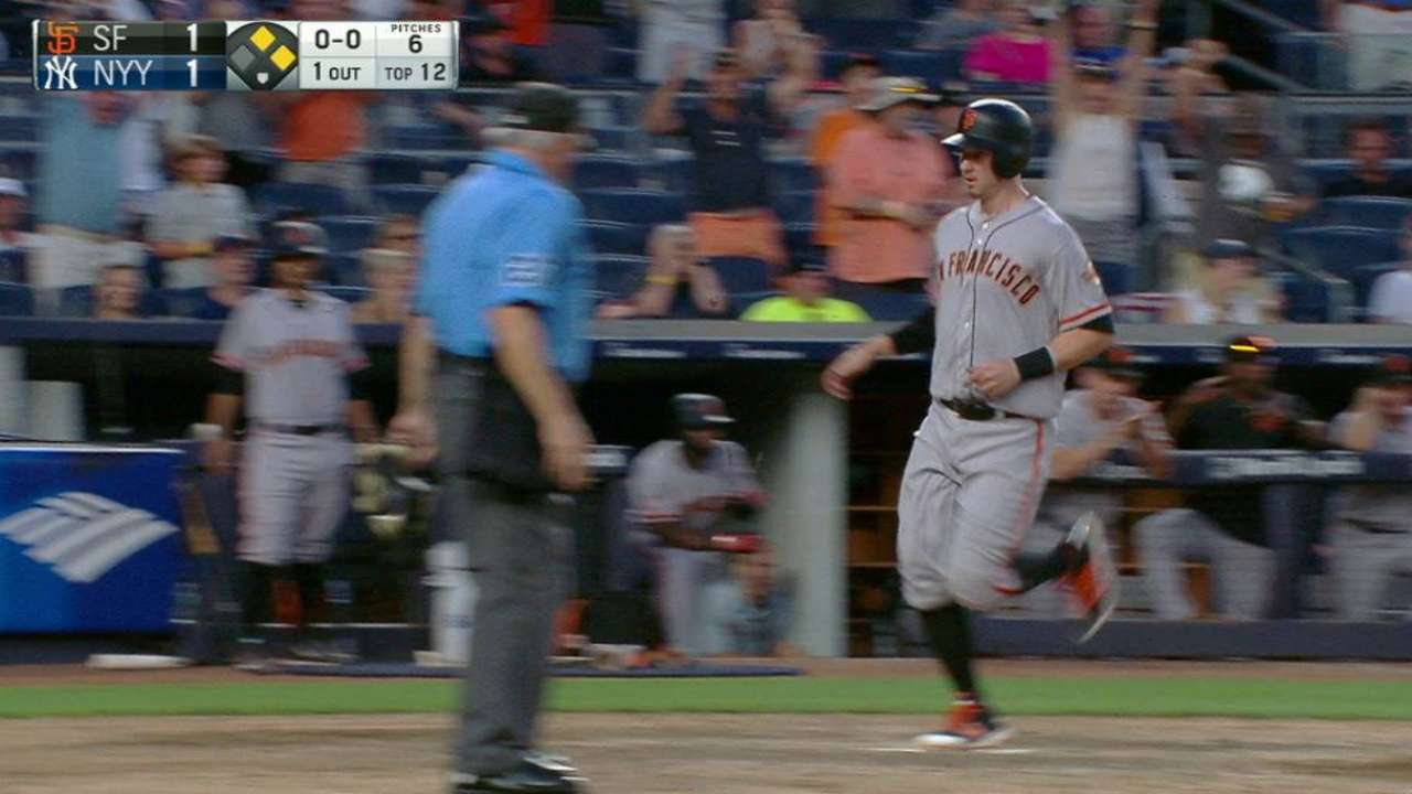 Rookie's 12th-inning hit snaps Giants' skid