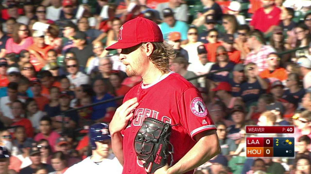 Angels can't overcome Weaver's short outing
