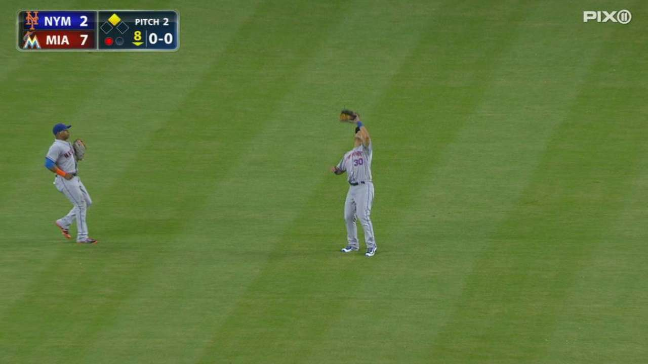 Conforto gets taste of center field for first time