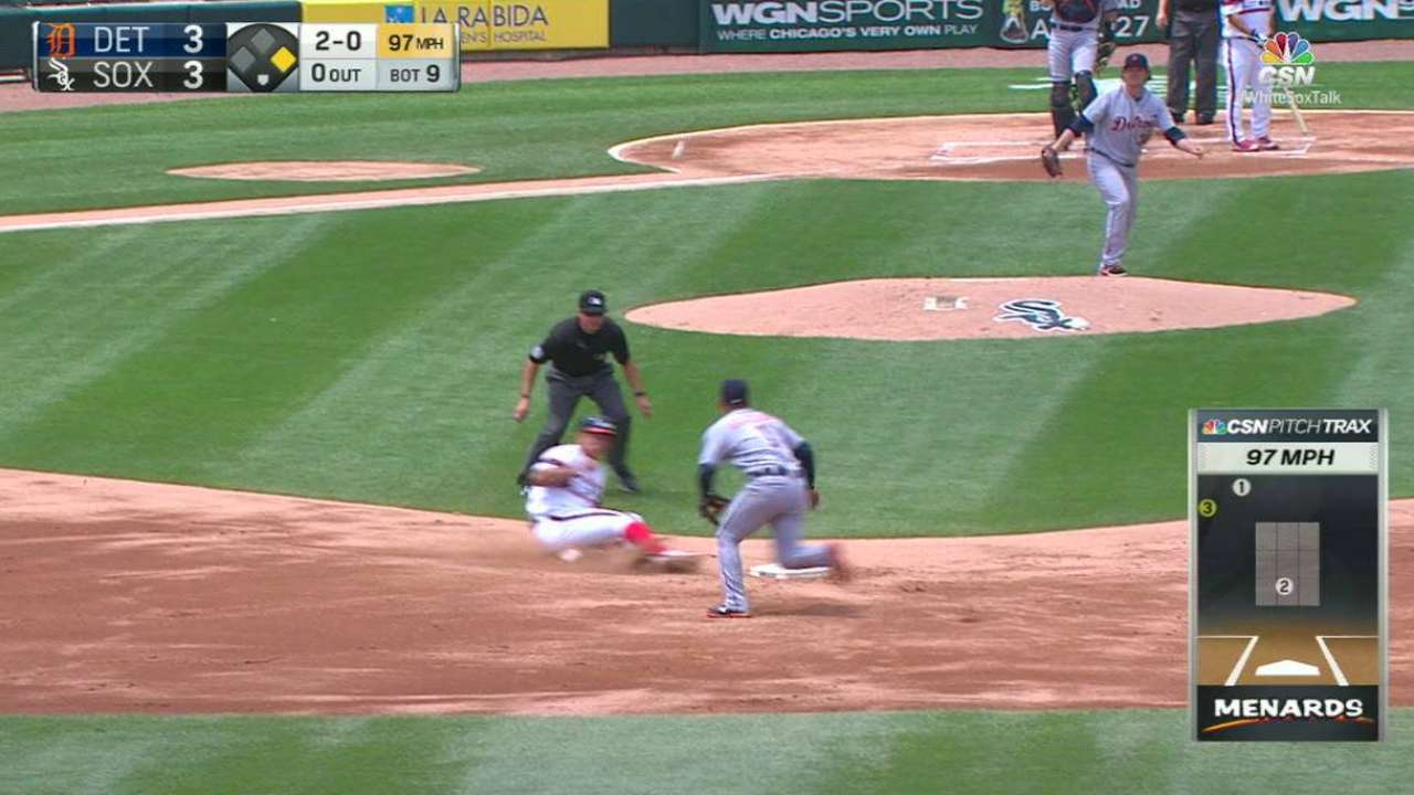 Garcia steals second base
