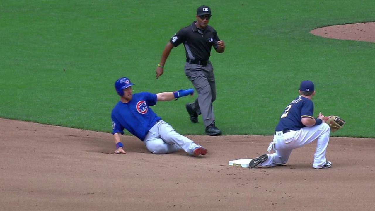Lucroy catches Zobrist stealing