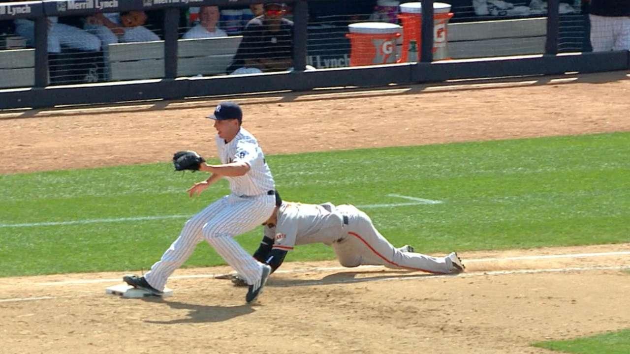 Yankees stun Giants with rare DP combo